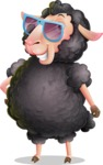 Black Sheep Cartoon Vector Character - with Sunglasses