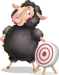 Black Sheep Cartoon Vector Character - with Target