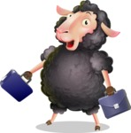 Black Sheep Cartoon Vector Character - with Two briefcases