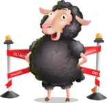 Black Sheep Cartoon Vector Character - with Under Construction sign