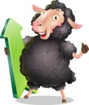 Black Sheep Cartoon Vector Character - with Up arrow