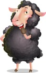 Black Sheep Cartoon Vector Character - Yawning