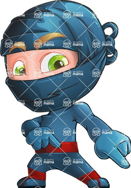 Ninja Warrior Cartoon Vector Character AKA Toshi - Point 2
