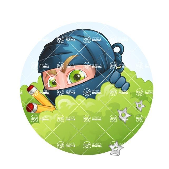 Ninja Warrior Cartoon Vector Character AKA Toshi - Shape 1