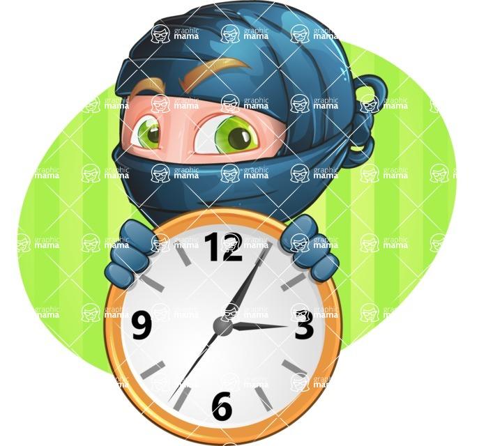 Ninja Warrior Cartoon Vector Character AKA Toshi - Shape 2