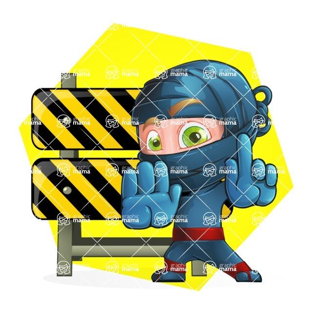 Ninja Warrior Cartoon Vector Character AKA Toshi - Shape 4