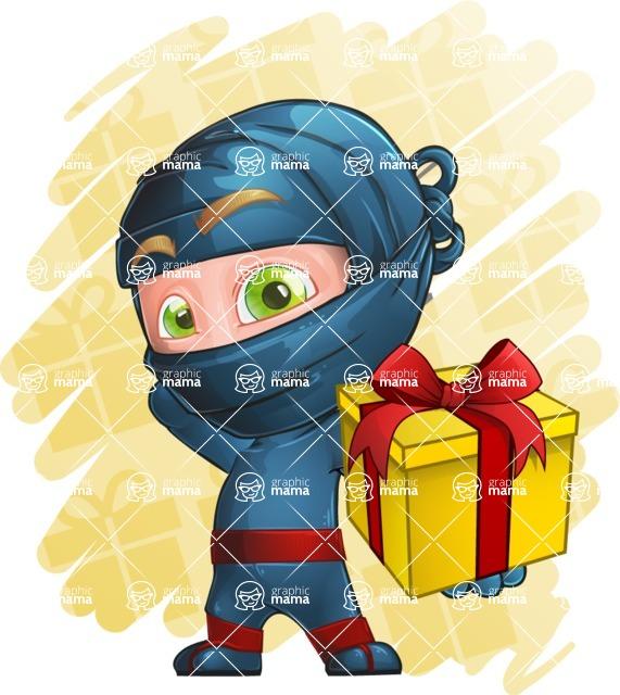 Ninja Warrior Cartoon Vector Character AKA Toshi - Shape 7