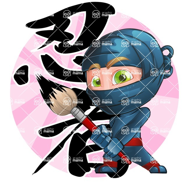Ninja Warrior Cartoon Vector Character AKA Toshi - Shape 8