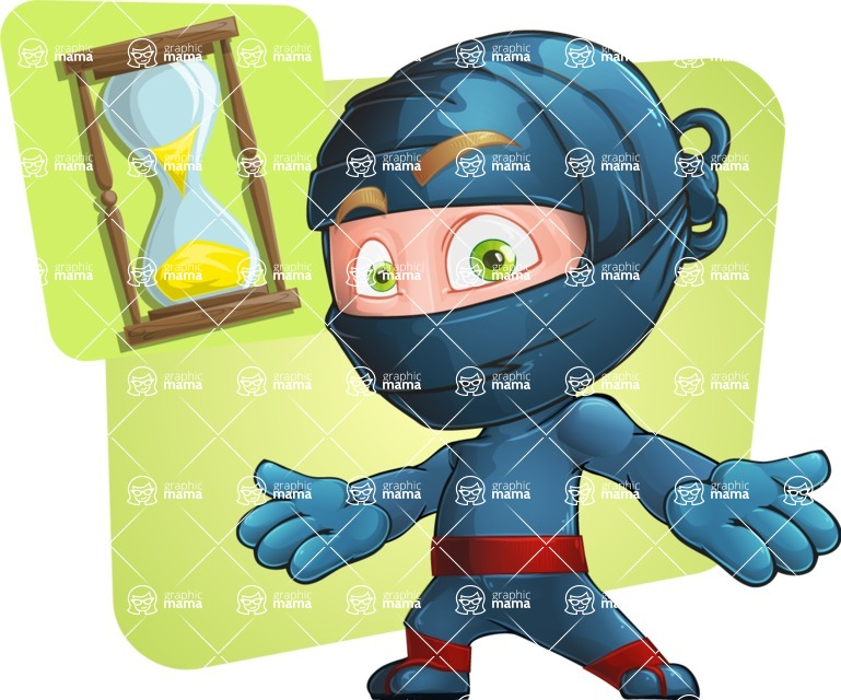 Ninja Warrior Cartoon Vector Character AKA Toshi - Shape 9