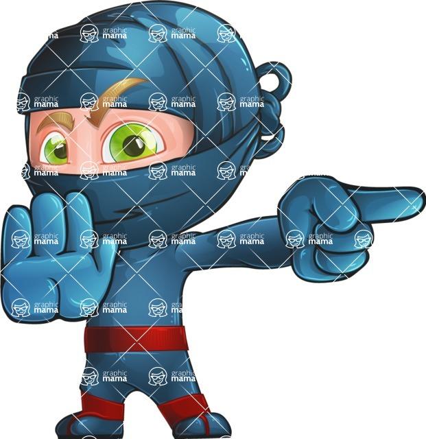 Ninja Warrior Cartoon Vector Character AKA Toshi - Direct Attention