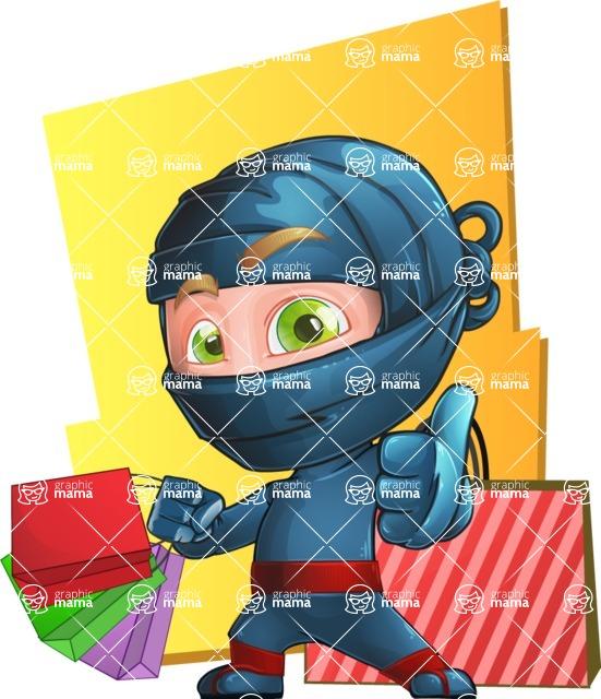 Ninja Warrior Cartoon Vector Character AKA Toshi - Shape 10