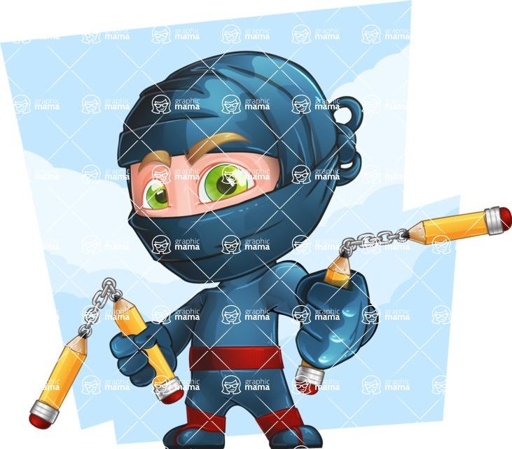 Ninja Warrior Cartoon Vector Character AKA Toshi - Shape 11