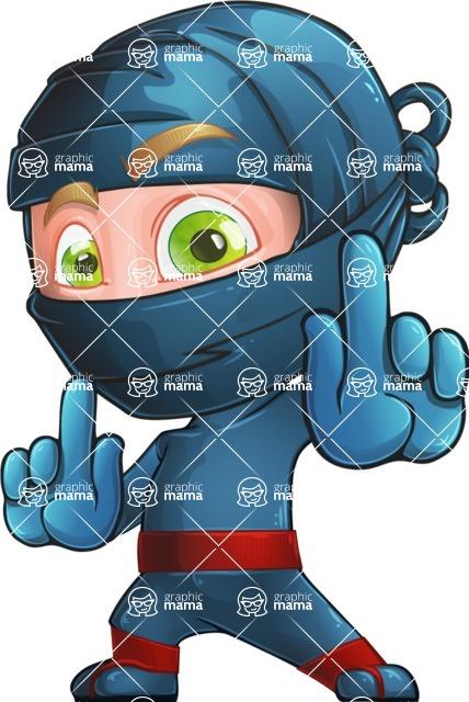 Ninja Warrior Cartoon Vector Character AKA Toshi - Direct Attention 2