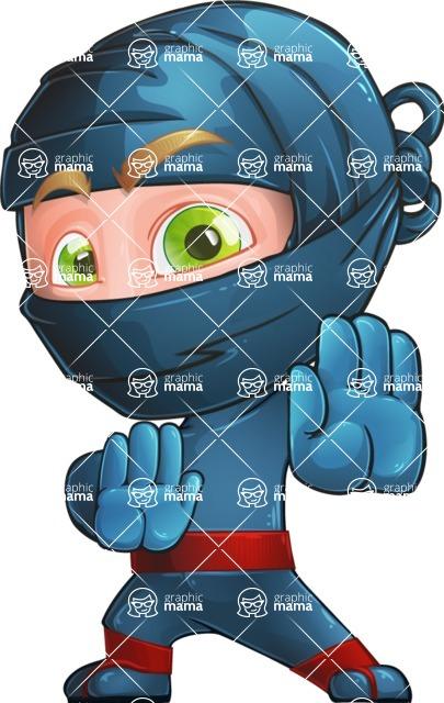 Ninja Warrior Cartoon Vector Character AKA Toshi - Stop