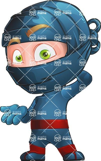 Ninja Warrior Cartoon Vector Character AKA Toshi - Stunned
