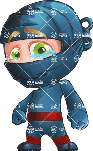 Ninja Warrior Cartoon Vector Character AKA Toshi - Sad 1