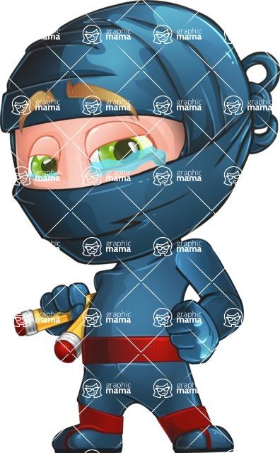 Ninja Warrior Cartoon Vector Character AKA Toshi - Sad 2