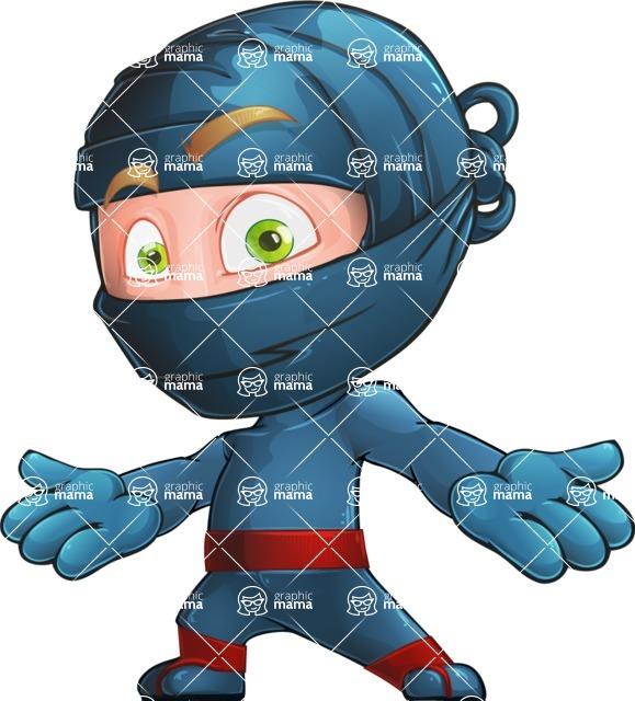 Ninja Warrior Cartoon Vector Character AKA Toshi - Shocked