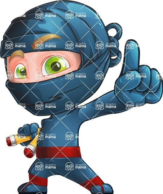 Ninja Warrior Cartoon Vector Character AKA Toshi - Attention