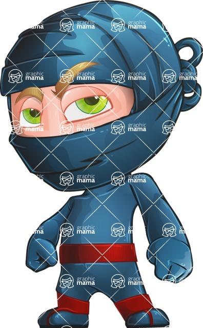 Ninja Warrior Cartoon Vector Character AKA Toshi - Roll Eyes