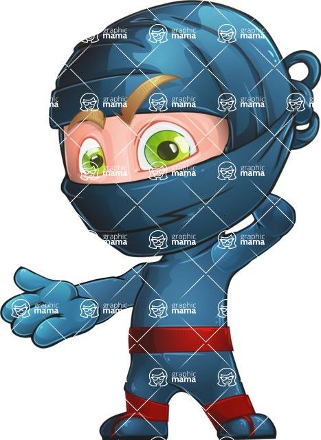 Ninja Warrior Cartoon Vector Character AKA Toshi - Confused