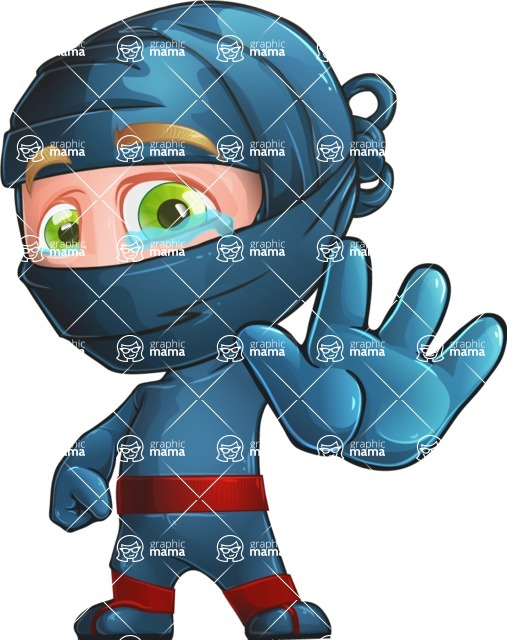 Ninja Warrior Cartoon Vector Character AKA Toshi - Goodbye