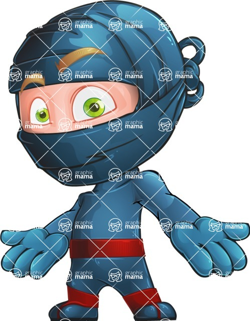 Ninja Warrior Cartoon Vector Character AKA Toshi - Blank
