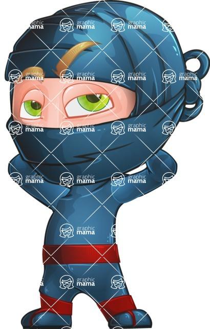 Ninja Warrior Cartoon Vector Character AKA Toshi - Bored