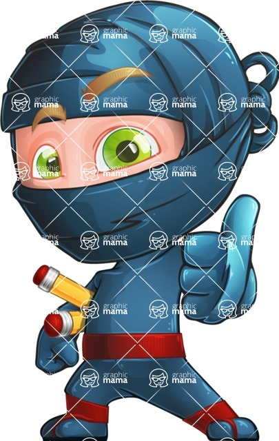 Ninja Warrior Cartoon Vector Character AKA Toshi - Thumbs-Up