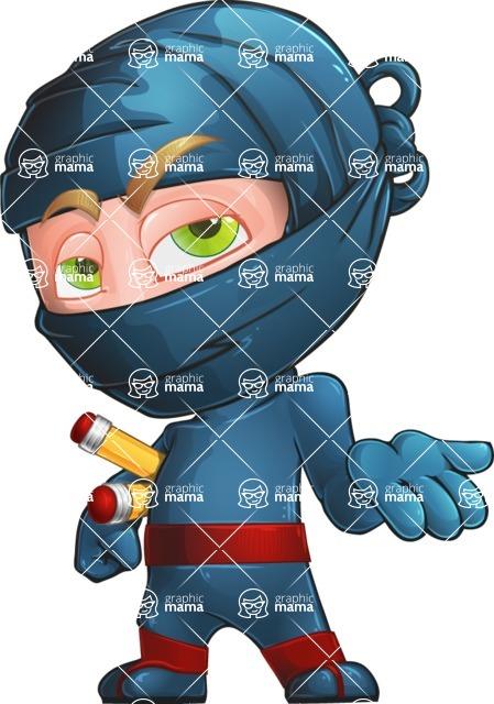 Ninja Warrior Cartoon Vector Character AKA Toshi - Bored 2
