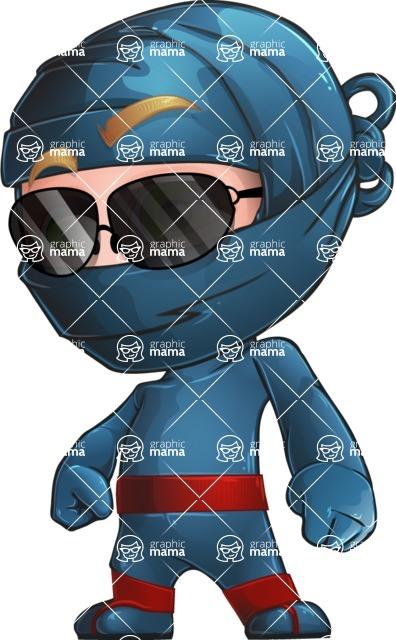 Ninja Warrior Cartoon Vector Character AKA Toshi - Sunglasses 1