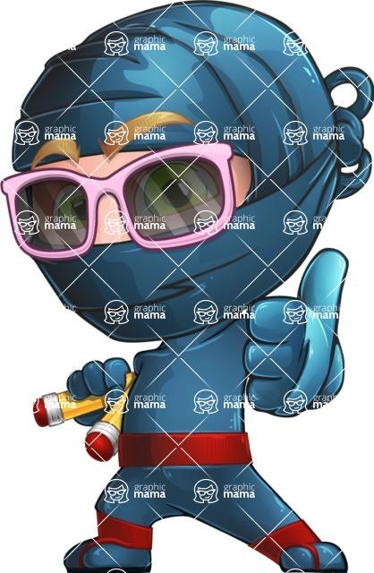 Ninja Warrior Cartoon Vector Character AKA Toshi - Sunglasses 2