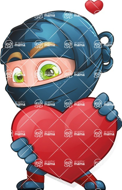 Ninja Warrior Cartoon Vector Character AKA Toshi - Show Love