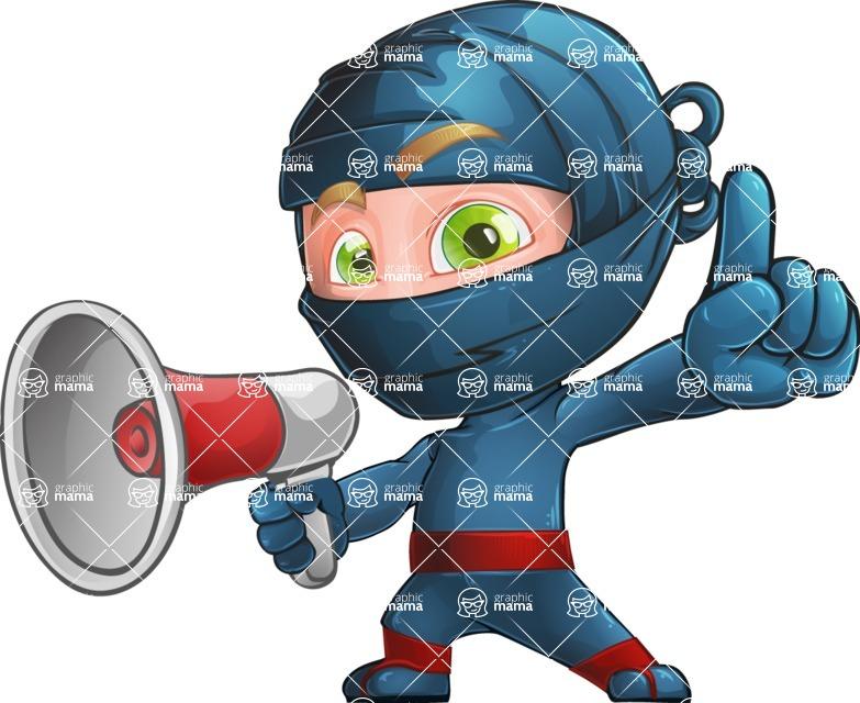 Ninja Warrior Cartoon Vector Character AKA Toshi - Loudspeaker