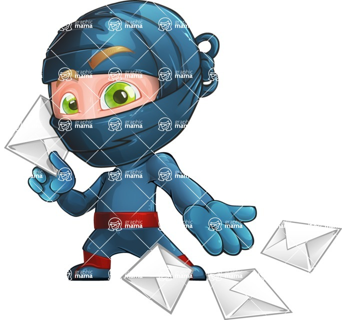 Ninja Warrior Cartoon Vector Character AKA Toshi - Mail