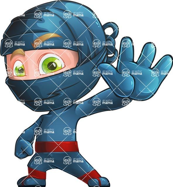 Ninja Warrior Cartoon Vector Character AKA Toshi - Wave