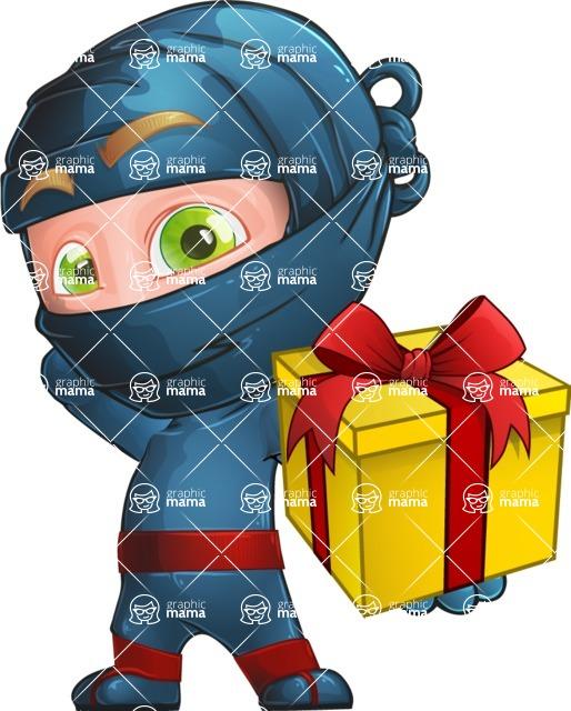 Ninja Warrior Cartoon Vector Character AKA Toshi - Gift