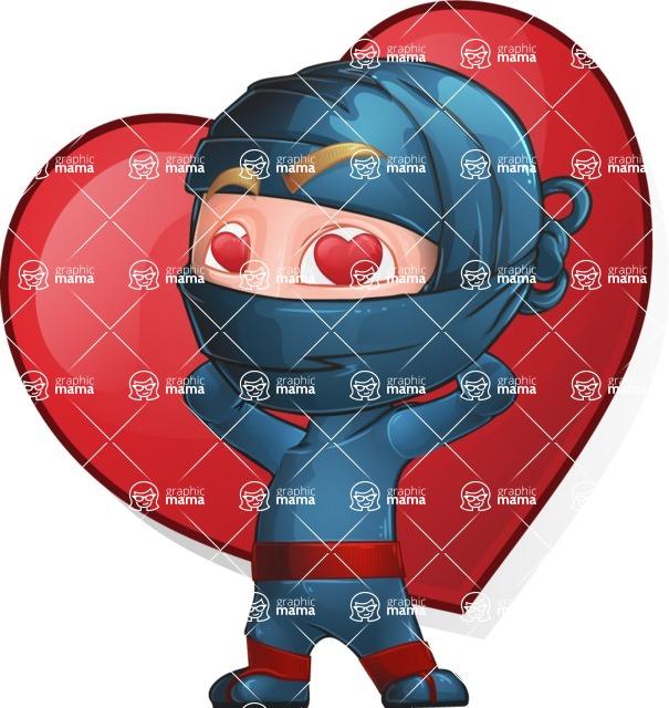 Ninja Warrior Cartoon Vector Character AKA Toshi - Love