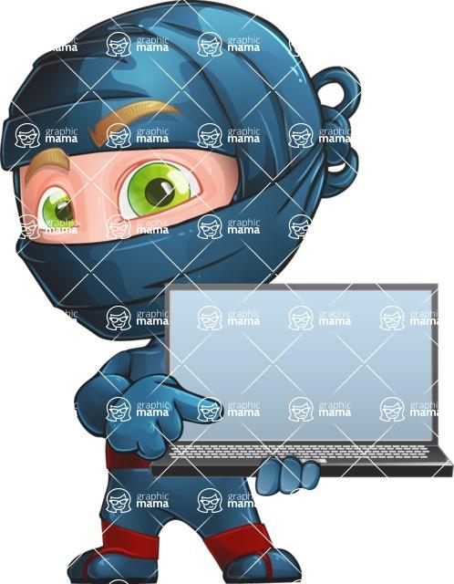 Ninja Warrior Cartoon Vector Character AKA Toshi - Laptop 2