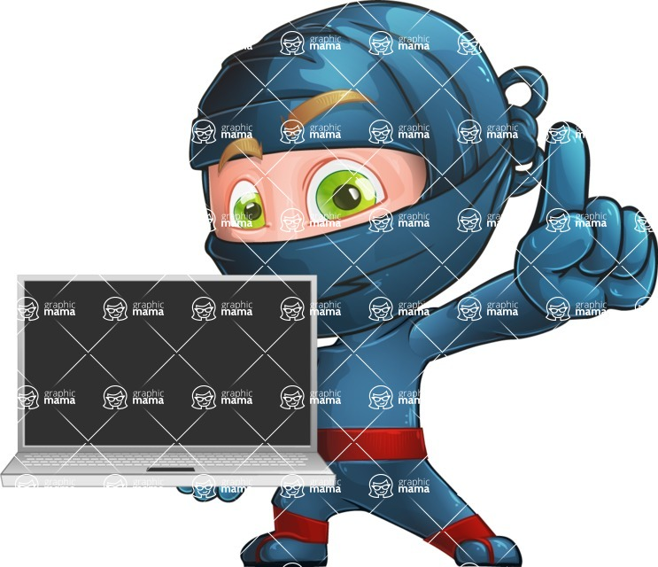 Ninja Warrior Cartoon Vector Character AKA Toshi - Laptop 3