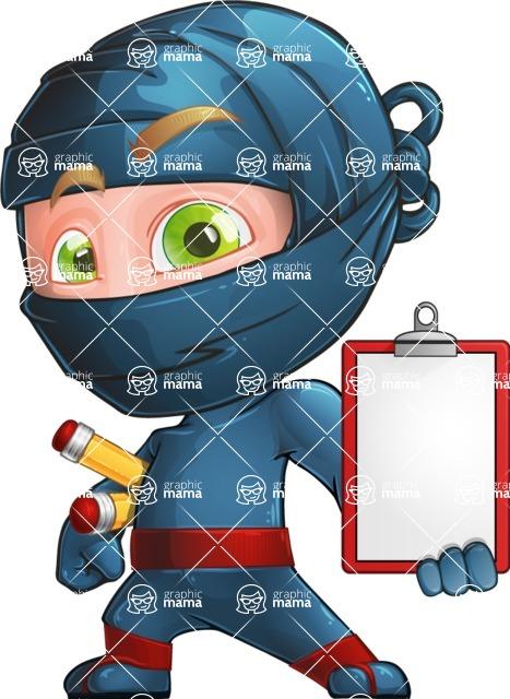 Ninja Warrior Cartoon Vector Character AKA Toshi - Note 1
