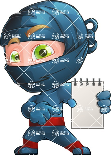 Ninja Warrior Cartoon Vector Character AKA Toshi - Note 2