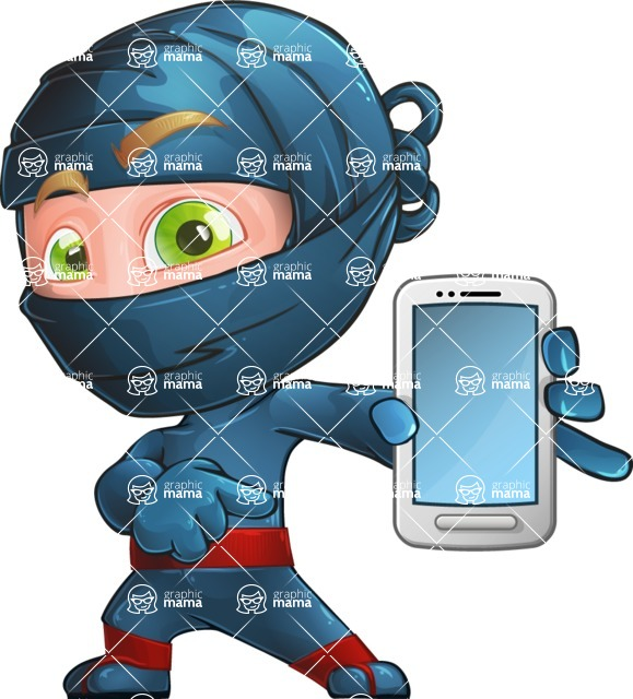 Ninja Warrior Cartoon Vector Character AKA Toshi - Smartphone 1
