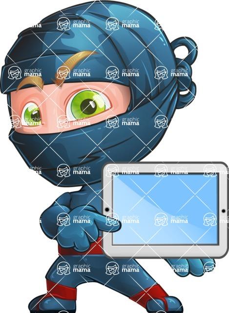 Ninja Warrior Cartoon Vector Character AKA Toshi - Tablet 1