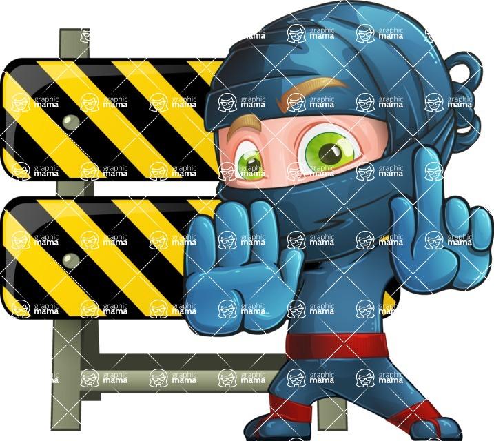 Ninja Warrior Cartoon Vector Character AKA Toshi - Under Construction 2