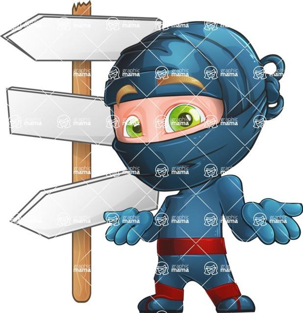 Ninja Warrior Cartoon Vector Character AKA Toshi - Crossroads