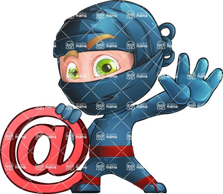Ninja Warrior Cartoon Vector Character AKA Toshi - Web