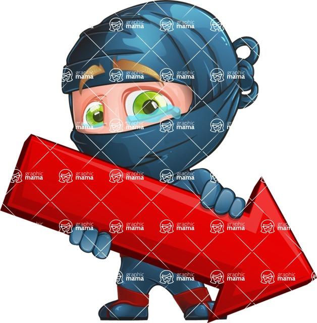 Ninja Warrior Cartoon Vector Character AKA Toshi - Pointer 1