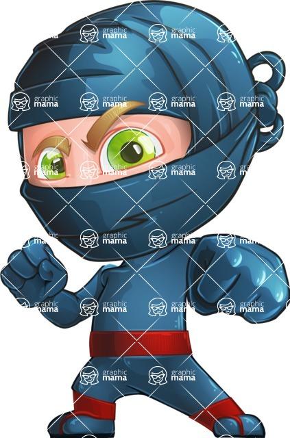 Ninja Warrior Cartoon Vector Character AKA Toshi - Determination