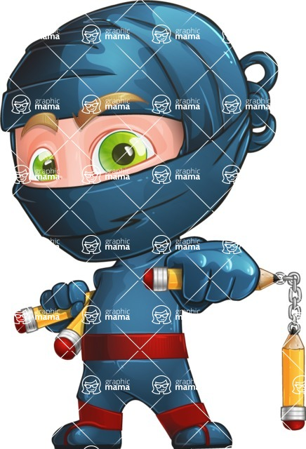 Ninja Warrior Cartoon Vector Character AKA Toshi - Protect